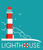 Lighthouse label with text.vector illustration Stock Image