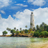 Lighthouse, lagoon and tropical palms Matara Sri Lanka. A lighthouse, lagoon and tropical palms Matara Sri Lanka royalty free stock image