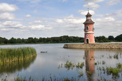 Lighthouse in a lake. In Moritzburg, German Stock Images