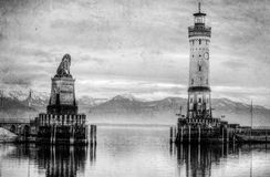 Lighthouse on lake Bondesee made in retro black and white style. Germany Stock Images