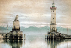 Lighthouse on lake Bondesee Stock Images