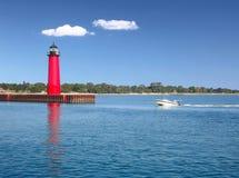 Lighthouse on Lake Michigan Stock Image