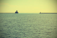 Lighthouse on Lake Michigan Stock Photos