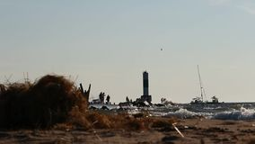 A lighthouse At Lake Michigan, Holland stock footage