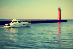 Lighthouse on Lake Michigan Stock Images