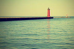 Lighthouse on Lake Michigan Stock Photo
