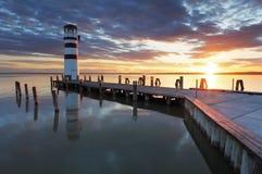 Lighthouse at Lake Neusiedl - Austria Royalty Free Stock Photos