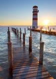 Lighthouse at Lake Neusiedl at sunset Royalty Free Stock Image