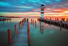 Lighthouse at Lake Neusiedl Stock Photo