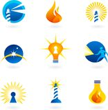 Lighthouse, lamps and fire icons. Collection of lighthouse, lamps and fire icons and logos Royalty Free Stock Photos