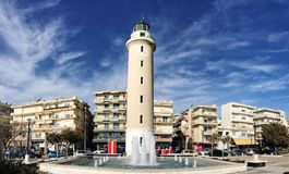Lighthouse that is the landmark of Alexandroupolis city in Greece. Alexandroupolis, Greece - December 13, 2017: Lighthouse that is the landmark of Royalty Free Stock Photography