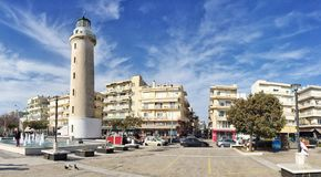 Lighthouse that is the landmark of Alexandroupolis city in Greece. Alexandroupolis, Greece - December 13, 2017: Lighthouse that is the landmark of Royalty Free Stock Photo