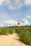 Lighthouse in landscape with dunes Royalty Free Stock Photos