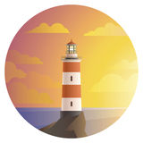 Lighthouse with landscape in round icon Stock Photos