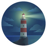 Lighthouse with landscape in round icon Stock Photo