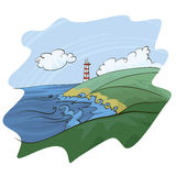 Lighthouse. Landscape with lighthouse and sea royalty free illustration