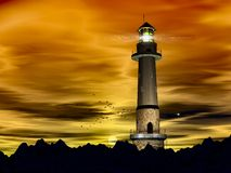 Lighthouse late evening. Lighthouse, late evening, birds making their way home stock illustration