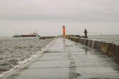 Lighthouse in Latvia, Riga. Travel photo. Big ship. royalty free stock photography