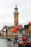 Lighthouse in Le Grau-du-Roi harbour, France Royalty Free Stock Image