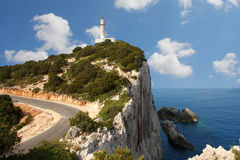 Lighthouse in Lefkas, Greece stock photography