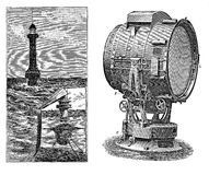 Lighthouse and lens, black and white engraving Stock Photo