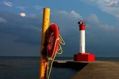 Lighthouse & Life Preserver Stock Photo