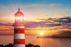 Lighthouse light and sunset at the sea coast. Scenic summer view of the lighthouse light and beautiful romantic sunset at the sea or ocean coast royalty free illustration