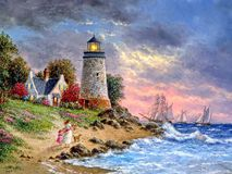 Lighthouse light at sunset. Seascape. Painting wet watercolor on paper. Naive art. Drawing watercolor on paper. Lighthouse light at sunset. Seascape. Painting stock photos