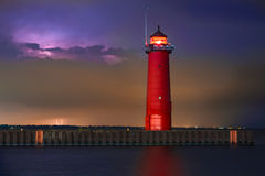 Lighthouse Lightning Stock Images