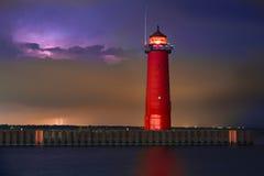 Lighthouse Lightning Stock Images