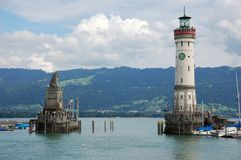 Lighthouse Lindau. Summer pictures of the bavarian island Lindau (Bodensee Royalty Free Stock Image