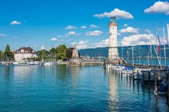 Lighthouse of Lindau at lake Constance, Bodensee Stock Photography