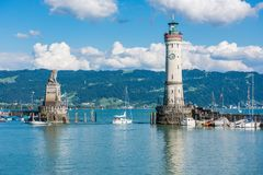 Lighthouse of Lindau at lake Constance, Bodensee Stock Photo