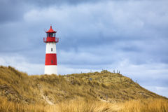 Lighthouse at List, Sylt. Eastern lighthouse of List on Ellenbogen peninsula, Sylt, Germany stock photos