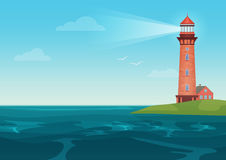 Lighthouse on on the little island cartoon landscape. Beacon in ocean for navigation vector illustration. Royalty Free Stock Images