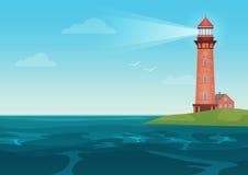 Lighthouse on on the little island cartoon landscape. Beacon in ocean for navigation vector illustration. Lighthouse on on the little island cartoon landscape vector illustration