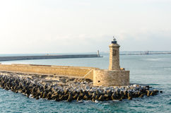 Lighthouse in Livorno. In the sea Stock Image