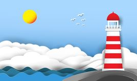 The lighthouse is located in the rocks by the sea with clouds in the sky and the sun. royalty free illustration