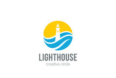 Lighthouse Logo circle abstract design vector. Lighthouse Logo circle abstract design vector template Negative space style Royalty Free Stock Photos