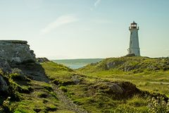 Lighthouse At Louisbourg, Nova Scotia royalty free stock photos