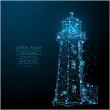 Lighthouse low poly blue. Abstract image of a lighthouse in the form of a starry sky or space, consisting of points, lines, and shapes in the form of planets Royalty Free Stock Images