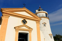 Lighthouse in Macau. This lighthouse is the oldest in South China Coast. It is located at fort Guia, the highest point on Macau Peninsula Stock Photography