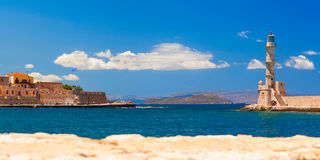 Lighthouse and main town quay panoramic view Stock Photography