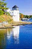 Lighthouse in Maine. Lighthouse, First Light Bed & Breakfast, Maine, USA Royalty Free Stock Photo