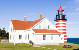 Lighthouse in Maine. West Quoddy Head Lighthouse, Maine, USA Stock Image