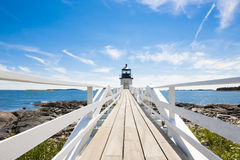 Lighthouse in Maine. Bridge to the Marshall Point Lighthouse in Maine Stock Image