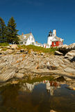 Lighthouse Maine. Maine coast lighthouse Pemaquid Point  Lighthouse reflection summer blue sky tourism tourist attraction north atlantic beacons landscapes Royalty Free Stock Photography