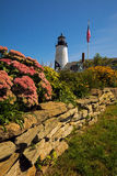 Lighthouse Maine. Maine coast lighthouse Pemaquid Point  Lighthouse reflection summer blue sky tourism tourist attraction north atlantic beacons landscapes Royalty Free Stock Image