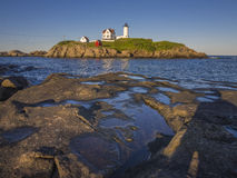 Lighthouse in Maine, USA. The Nuble lighthouse at sunset in York, Maine Royalty Free Stock Image