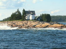 Lighthouse in Maine USA. Picture taken in the Atlantic Ocean, close to Bar Harbor Maine, USA Stock Photography